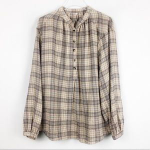 Free People | Tan Gray Red Plaid Popover | Medium